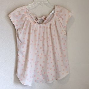 LC Lauren Conrad polka dot pleated blouse